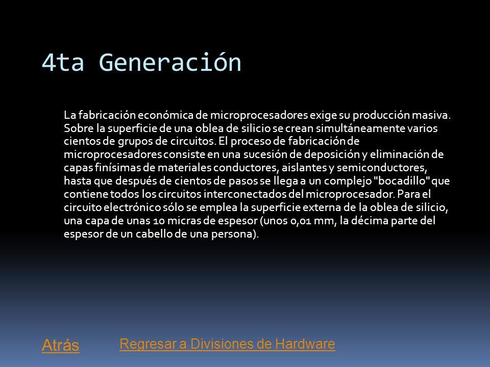 4ta Generación Atrás Regresar a Divisiones de Hardware