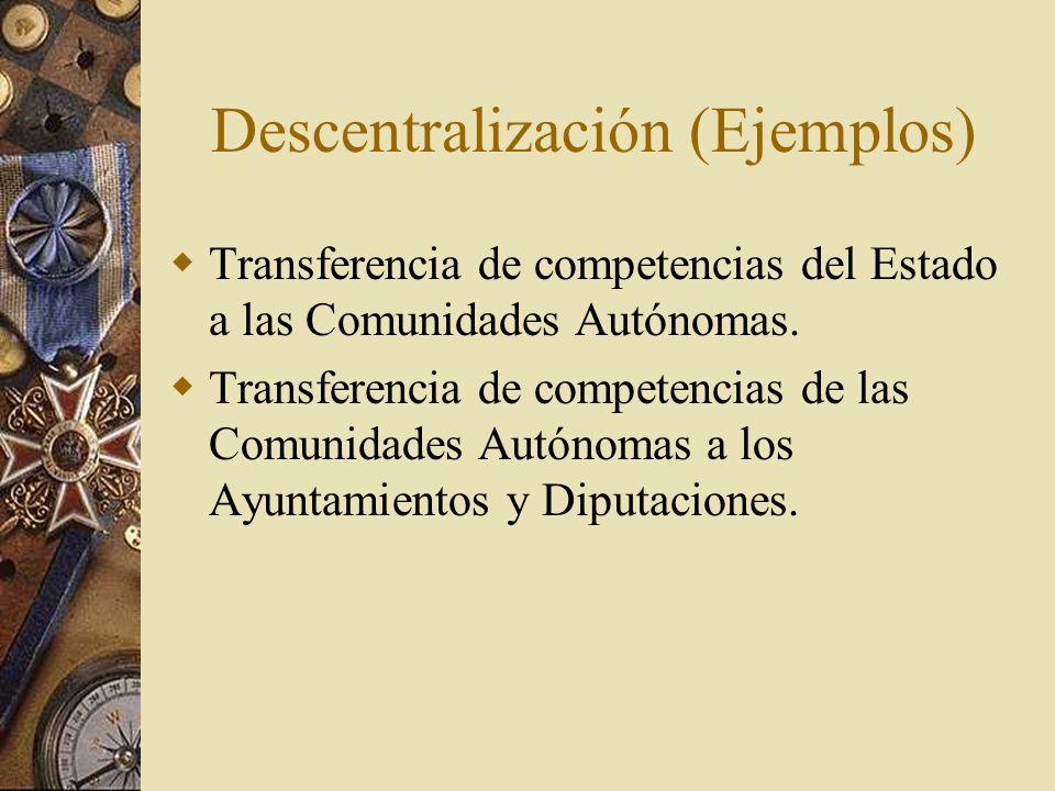 Descentralización (Ejemplos)