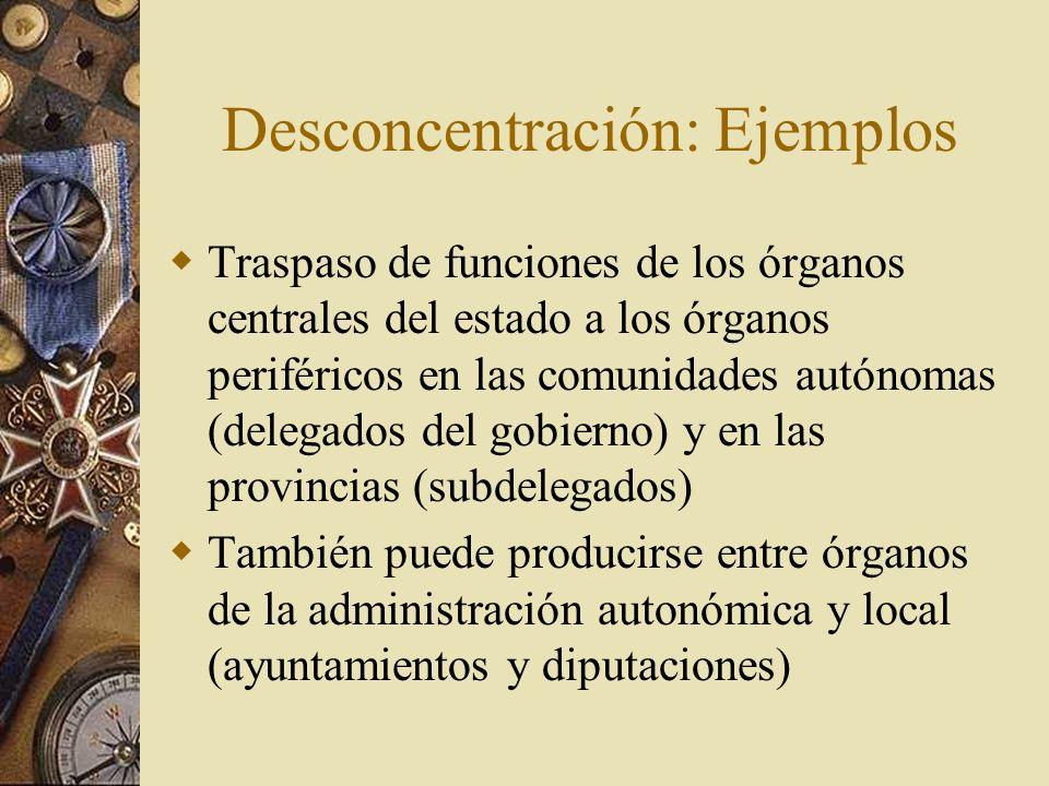 Desconcentración: Ejemplos