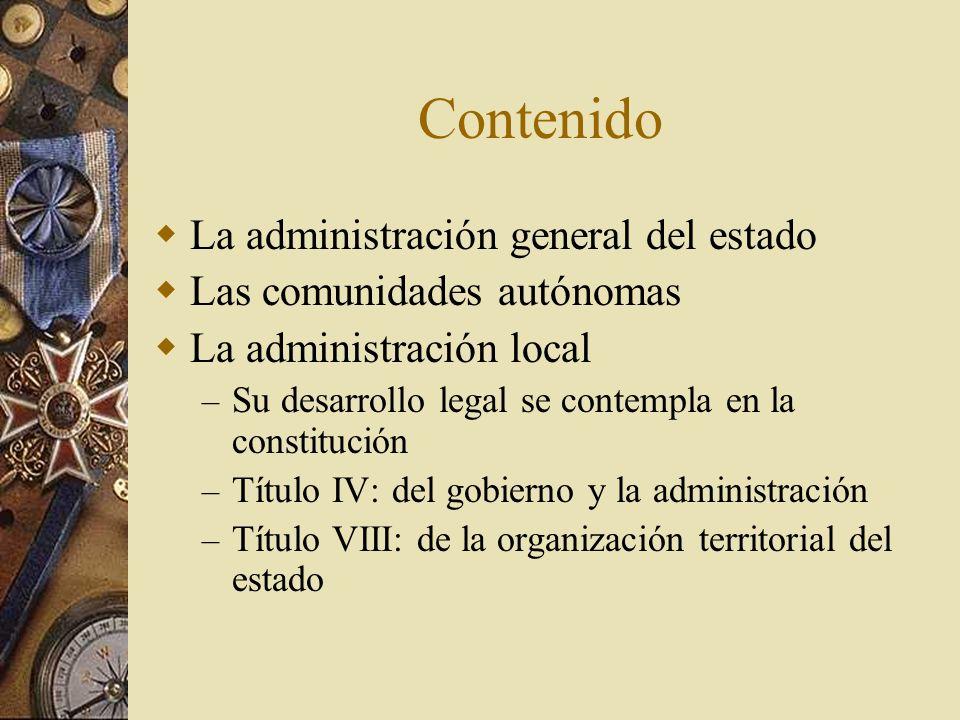 Contenido La administración general del estado