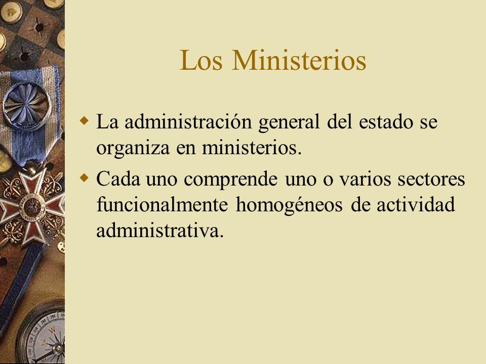 Los Ministerios La administración general del estado se organiza en ministerios.