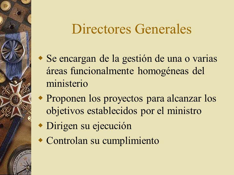 Directores Generales Se encargan de la gestión de una o varias áreas funcionalmente homogéneas del ministerio.