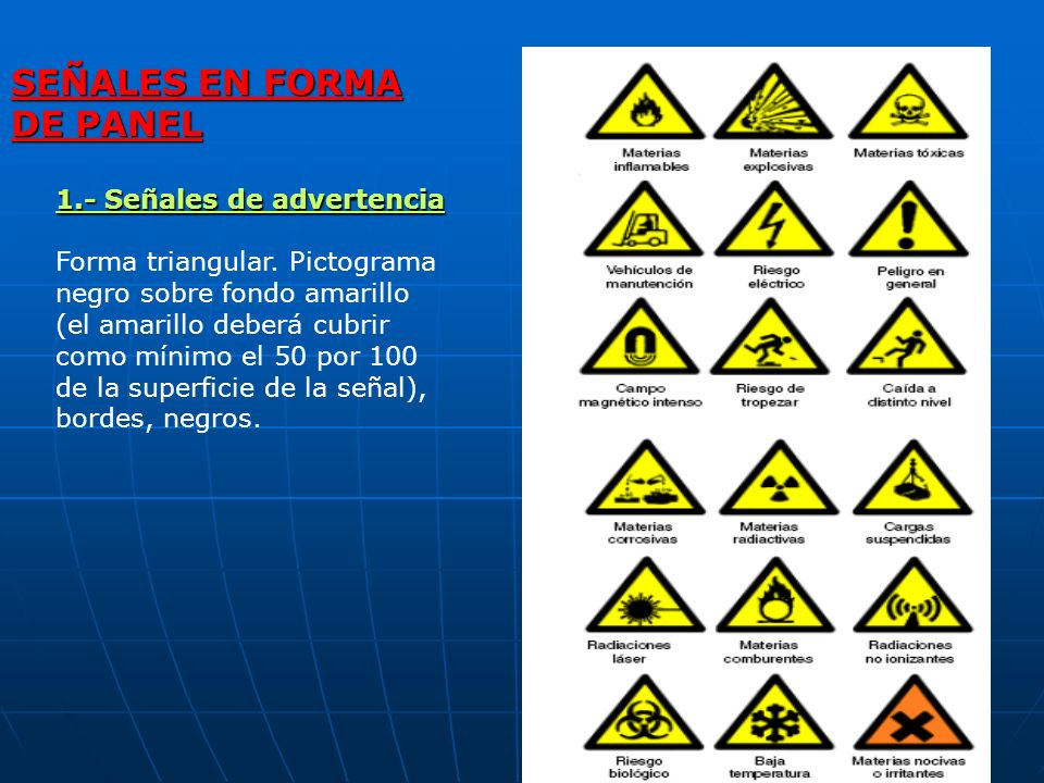 SEÑALES EN FORMA DE PANEL 1.- Señales de advertencia