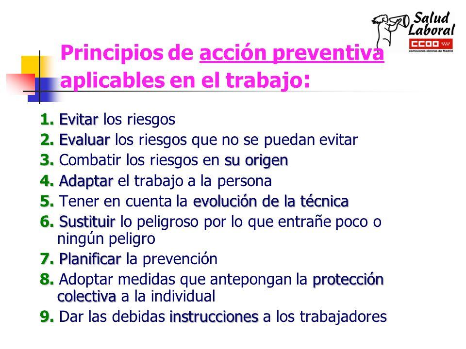 Principios de acción preventiva aplicables en el trabajo: