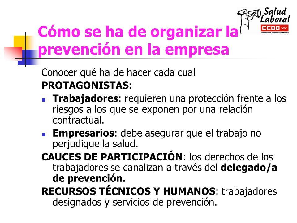 Cómo se ha de organizar la prevención en la empresa
