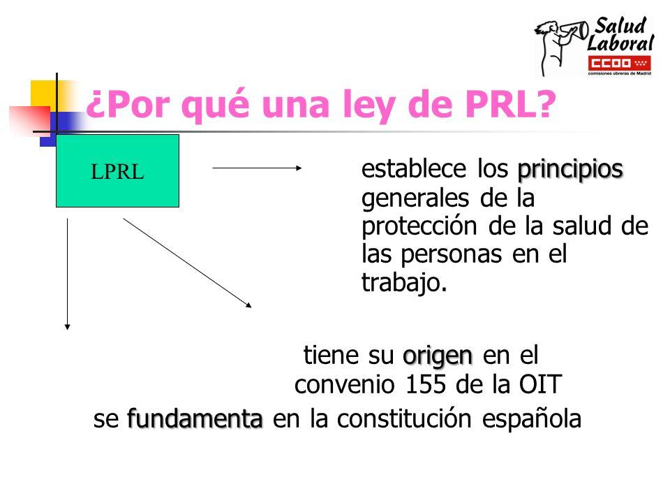 ¿Por qué una ley de PRL LPRL. establece los principios generales de la protección de la salud de las personas en el trabajo.