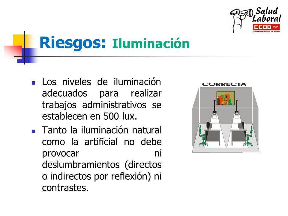 Riesgos: Iluminación Los niveles de iluminación adecuados para realizar trabajos administrativos se establecen en 500 lux.