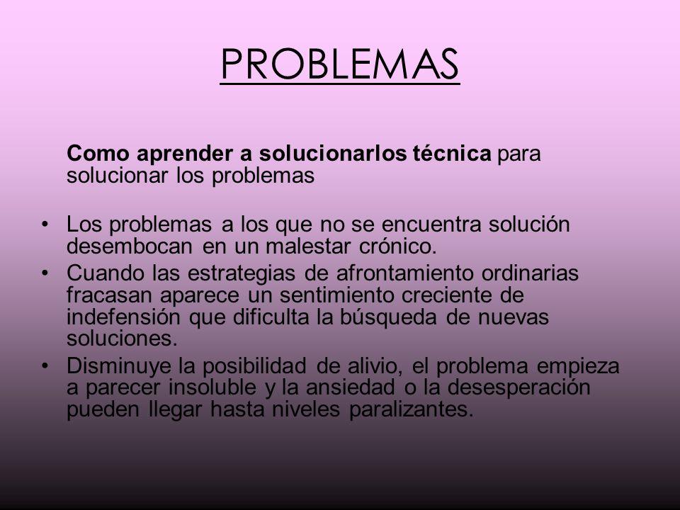 PROBLEMAS Como aprender a solucionarlos técnica para solucionar los problemas.