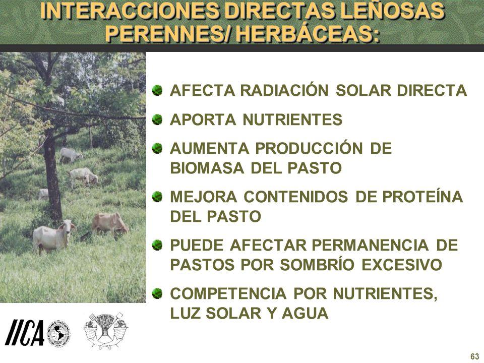 INTERACCIONES DIRECTAS LEÑOSAS PERENNES/ HERBÁCEAS: