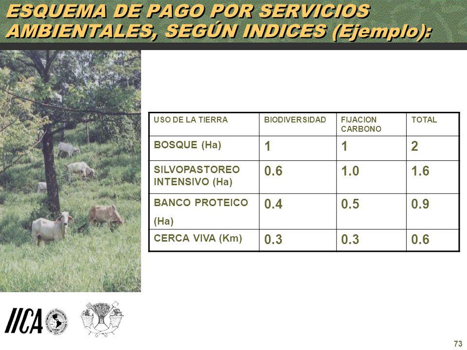 ESQUEMA DE PAGO POR SERVICIOS AMBIENTALES, SEGÚN INDICES (Ejemplo):