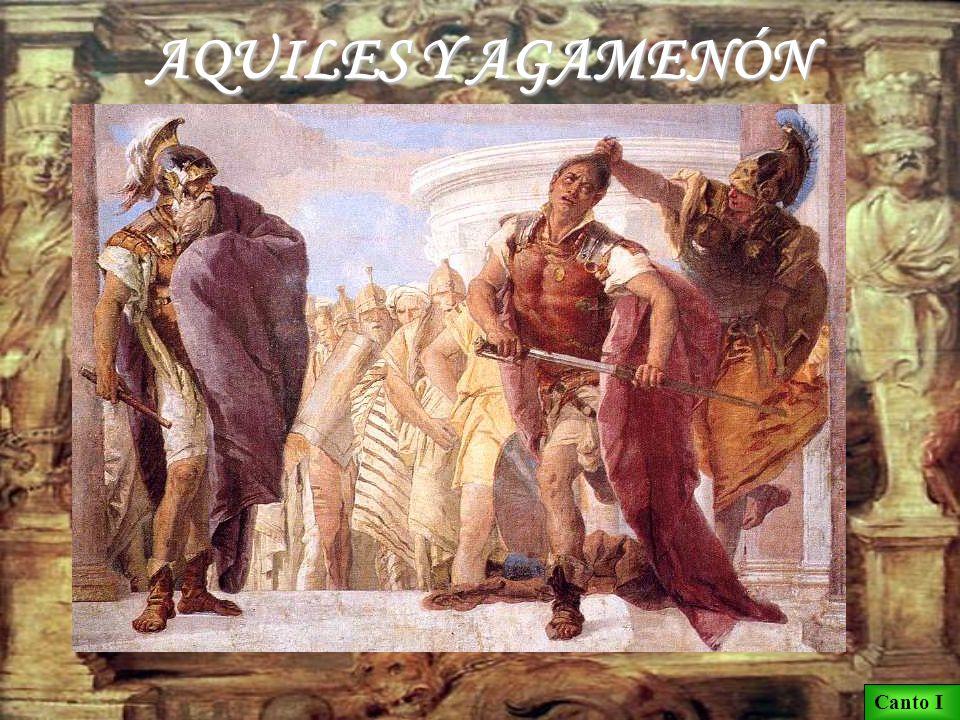 AQUILES Y AGAMENÓN Calcante declara en la asamblea que Agamenón es la causa de la epidemia: debe devolver Criseida a su padre.