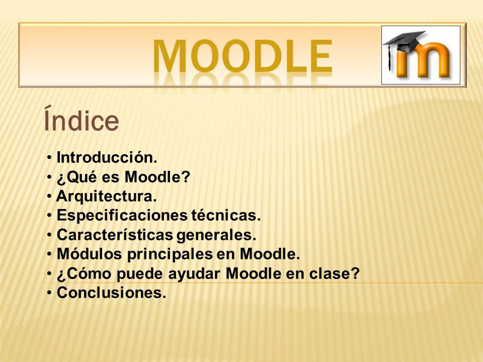 MOODLE Índice Introducción. ¿Qué es Moodle Arquitectura.