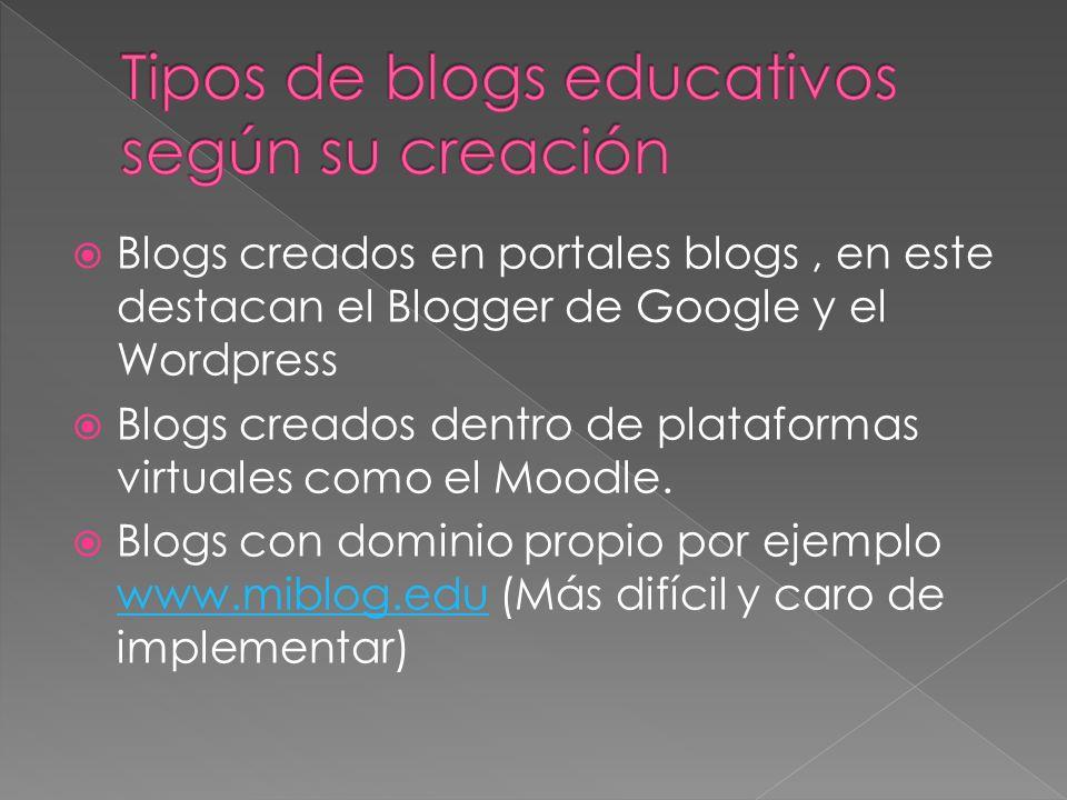 Tipos de blogs educativos según su creación