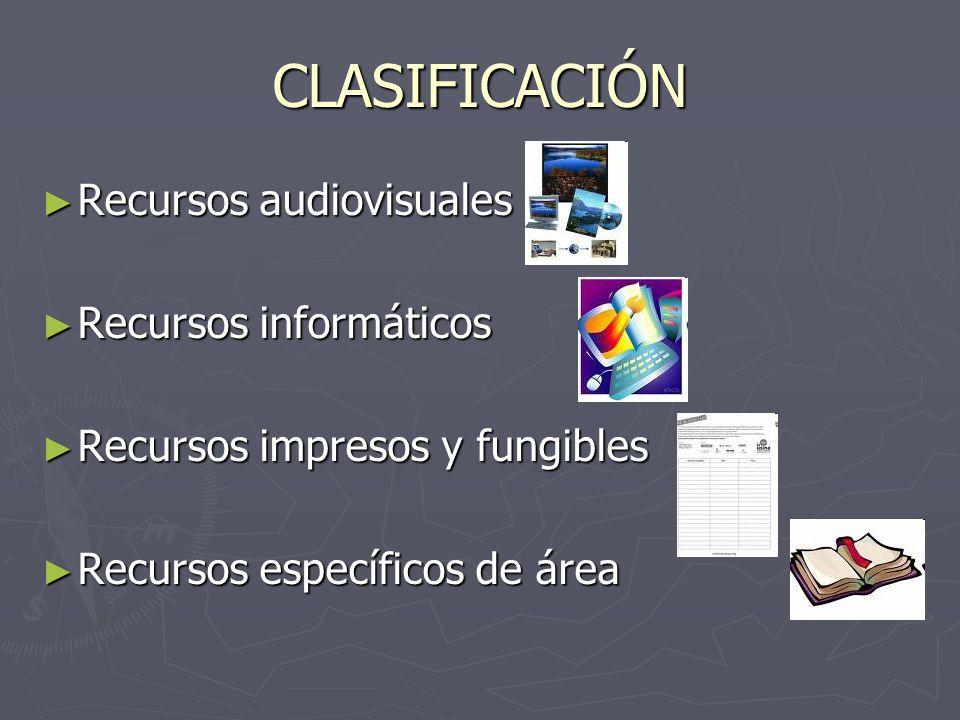 CLASIFICACIÓN Recursos audiovisuales Recursos informáticos