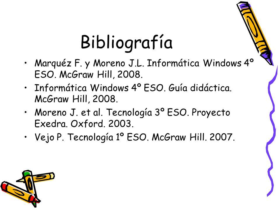 Bibliografía Marquéz F. y Moreno J.L. Informática Windows 4º ESO. McGraw Hill, 2008. Informática Windows 4º ESO. Guía didáctica. McGraw Hill, 2008.