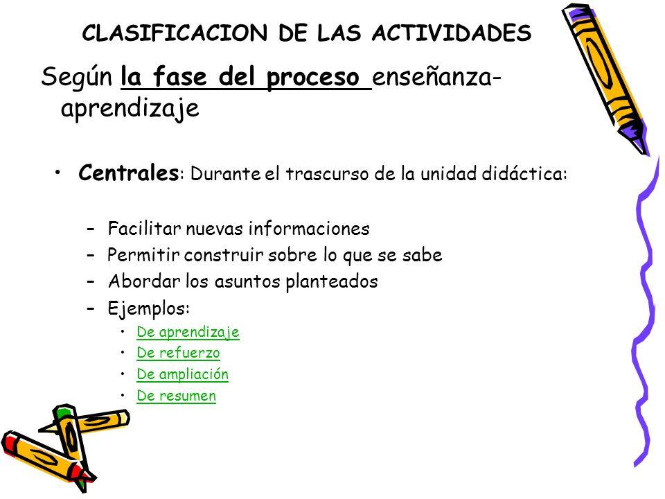 CLASIFICACION DE LAS ACTIVIDADES