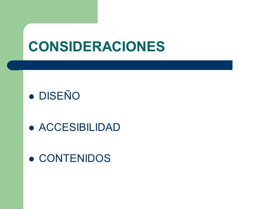 CONSIDERACIONES DISEÑO ACCESIBILIDAD CONTENIDOS