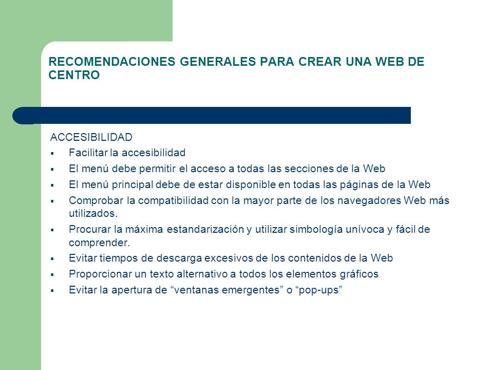 RECOMENDACIONES GENERALES PARA CREAR UNA WEB DE CENTRO