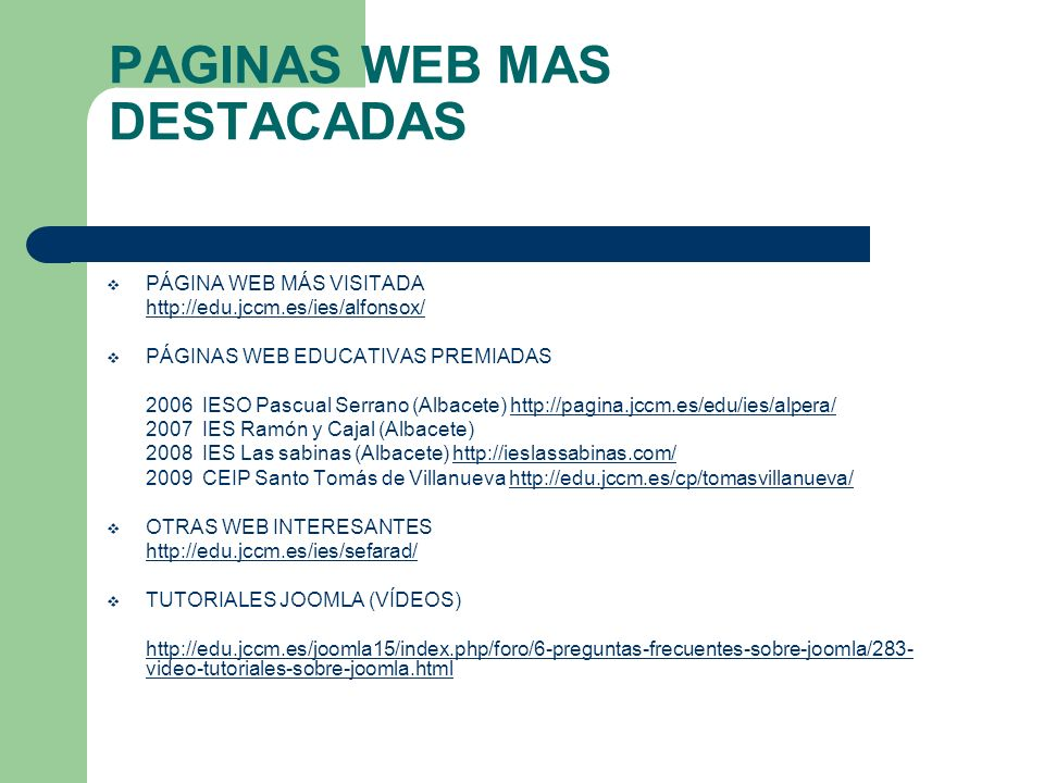 PAGINAS WEB MAS DESTACADAS