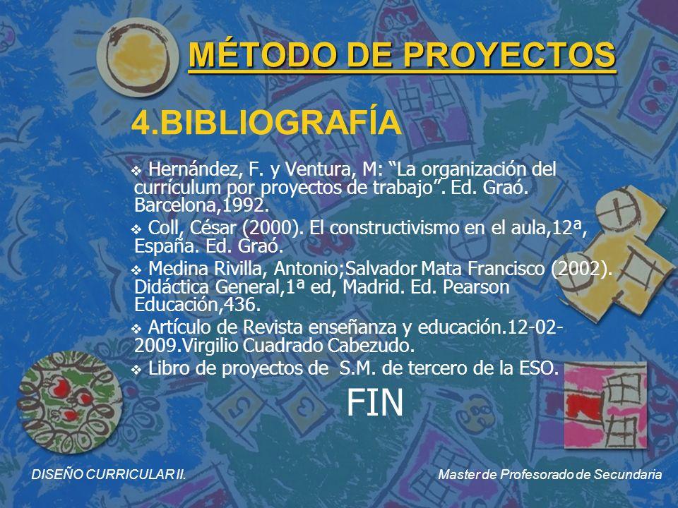 DISEÑO CURRICULAR II. Master de Profesorado de Secundaria