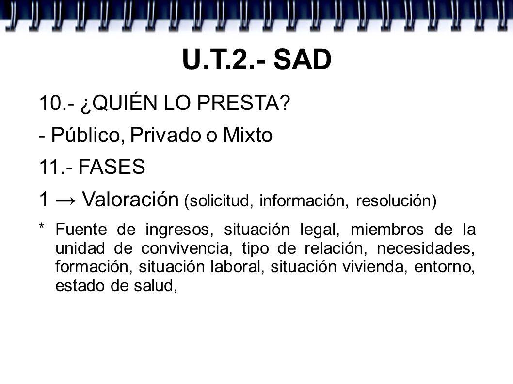U.T.2.- SAD 10.- ¿QUIÉN LO PRESTA - Público, Privado o Mixto