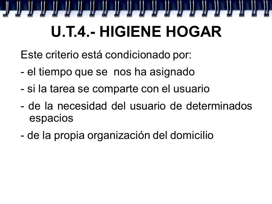 U.T.4.- HIGIENE HOGAR Este criterio está condicionado por: