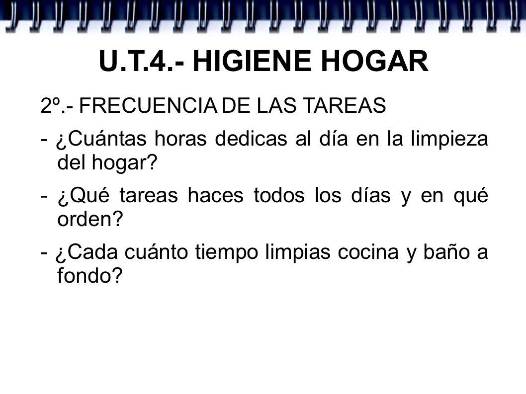U.T.4.- HIGIENE HOGAR 2º.- FRECUENCIA DE LAS TAREAS