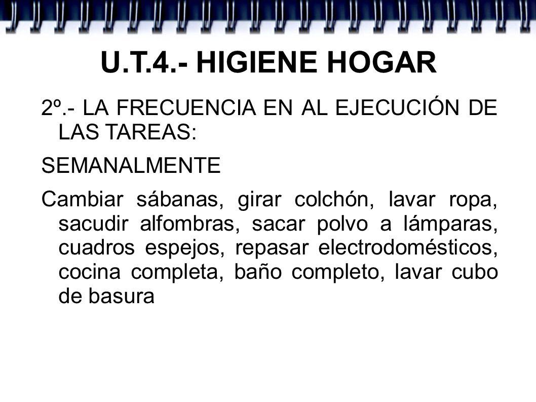 U.T.4.- HIGIENE HOGAR 2º.- LA FRECUENCIA EN AL EJECUCIÓN DE LAS TAREAS: SEMANALMENTE.