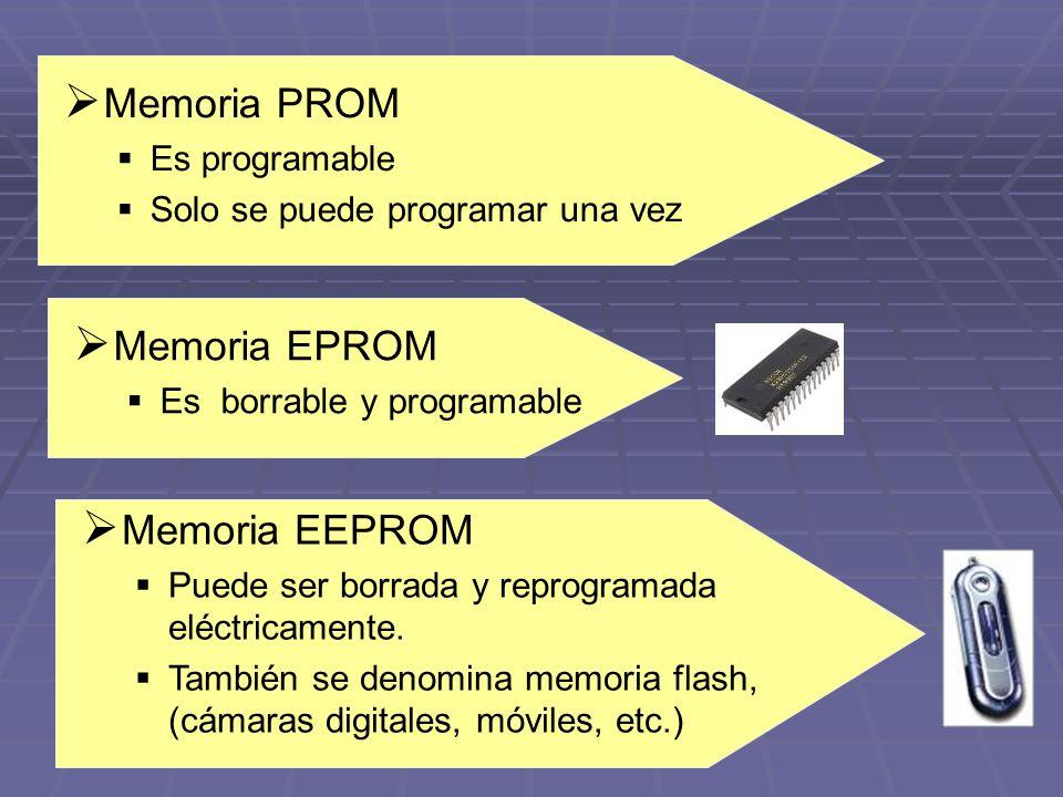 Memoria PROM Memoria EPROM Memoria EEPROM Es programable