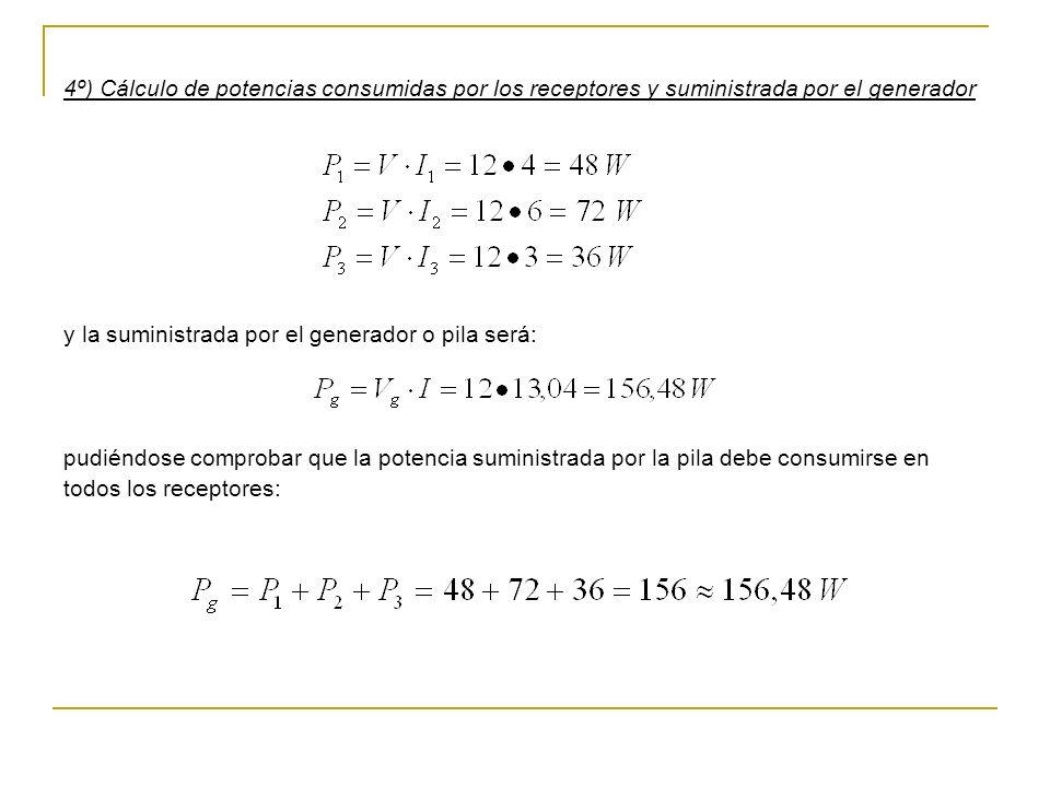4º) Cálculo de potencias consumidas por los receptores y suministrada por el generador