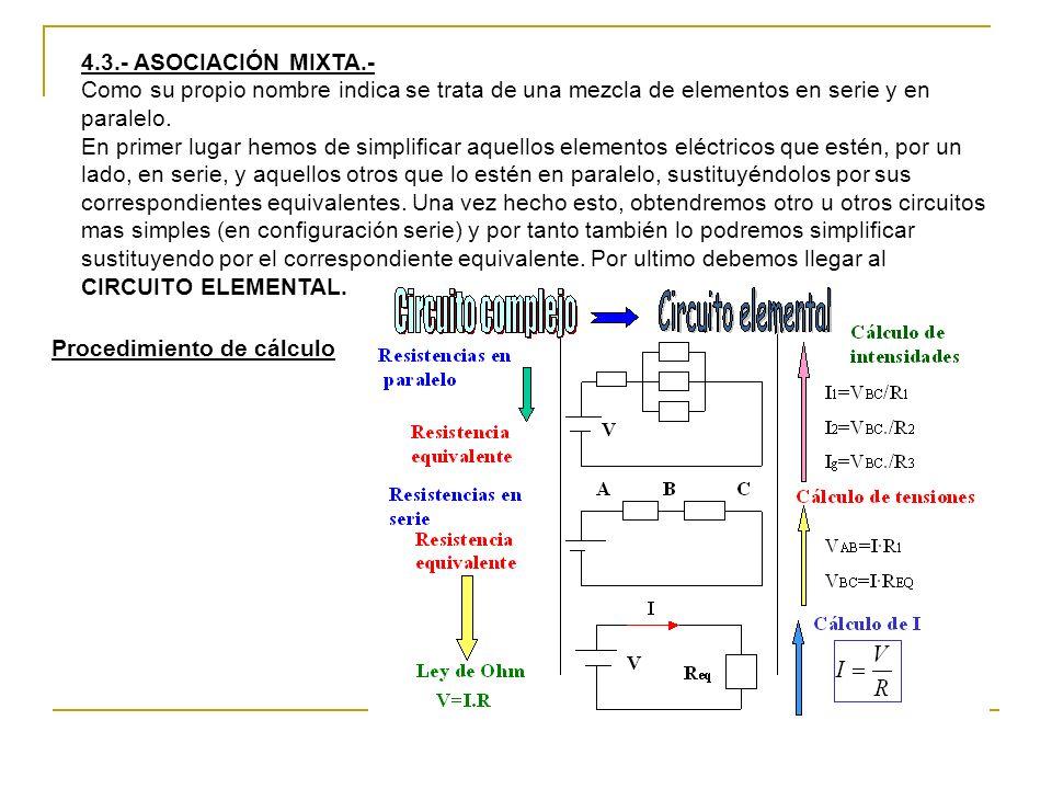 4.3.- ASOCIACIÓN MIXTA.- Como su propio nombre indica se trata de una mezcla de elementos en serie y en paralelo.