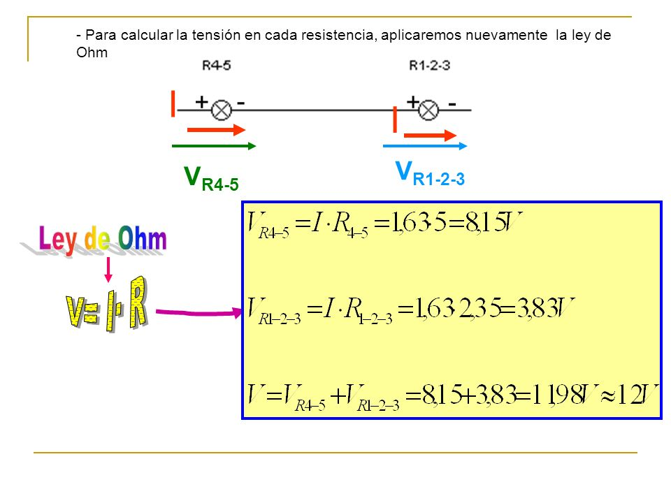 I I Ley de Ohm V= I· R + - + - VR1-2-3 VR4-5