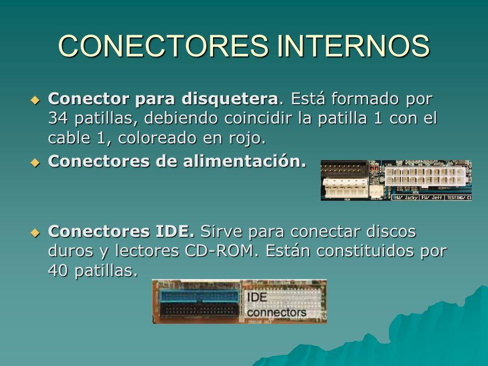 CONECTORES INTERNOSConector para disquetera. Está formado por 34 patillas, debiendo coincidir la patilla 1 con el cable 1, coloreado en rojo.