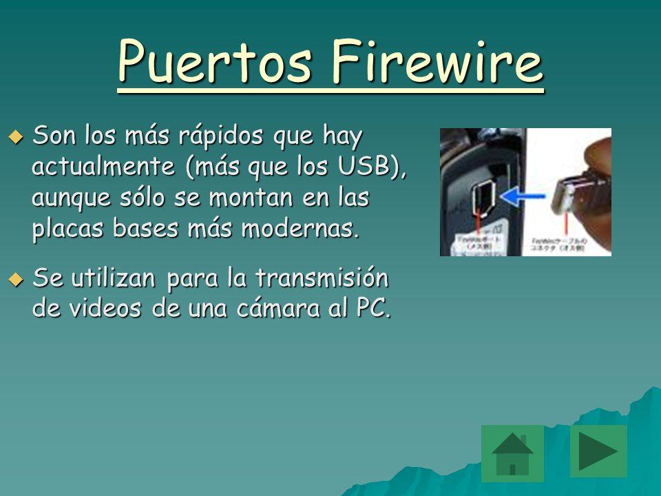 Puertos Firewire Son los más rápidos que hay actualmente (más que los USB), aunque sólo se montan en las placas bases más modernas.