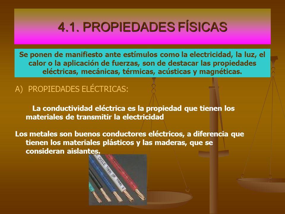 4.1. PROPIEDADES FÍSICAS PROPIEDADES ELÉCTRICAS: