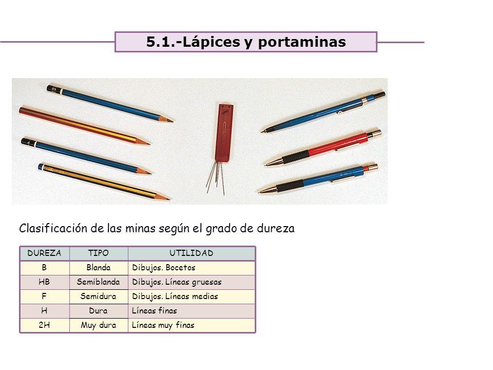 5.1.-Lápices y portaminas Clasificación de las minas según el grado de dureza. DUREZA. TIPO. UTILIDAD.