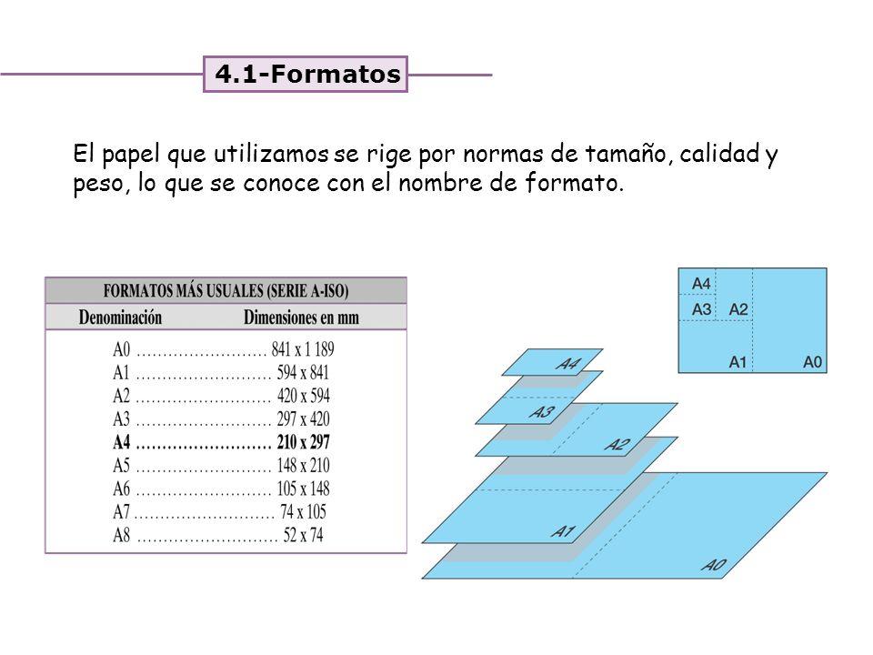 4.1-Formatos El papel que utilizamos se rige por normas de tamaño, calidad y peso, lo que se conoce con el nombre de formato.