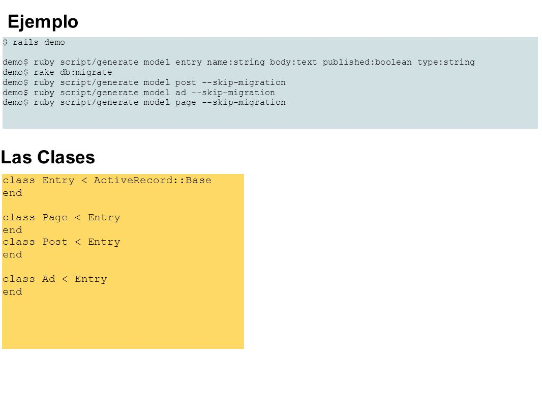 Ejemplo Las Clases class Entry < ActiveRecord::Base end