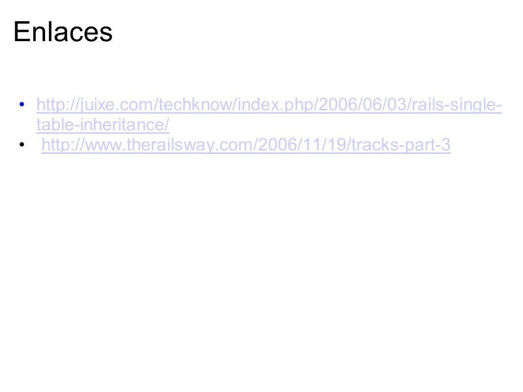 Enlaceshttp://juixe.com/techknow/index.php/2006/06/03/rails-single-table-inheritance/ http://www.therailsway.com/2006/11/19/tracks-part-3.