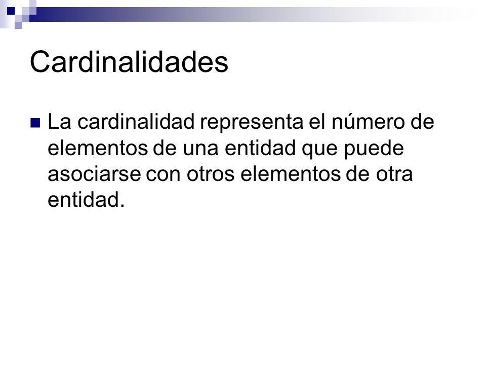 Cardinalidades La cardinalidad representa el número de elementos de una entidad que puede asociarse con otros elementos de otra entidad.