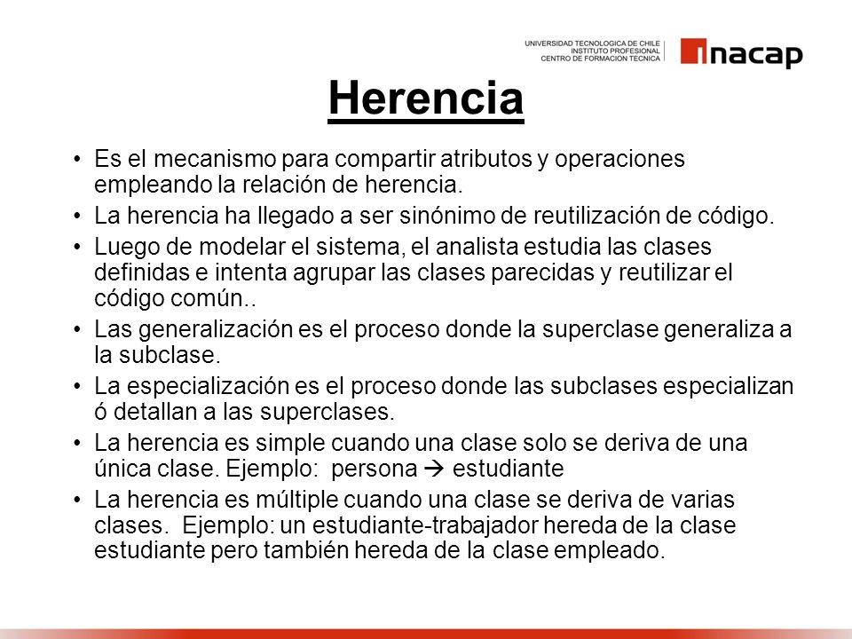 Herencia Es el mecanismo para compartir atributos y operaciones empleando la relación de herencia.