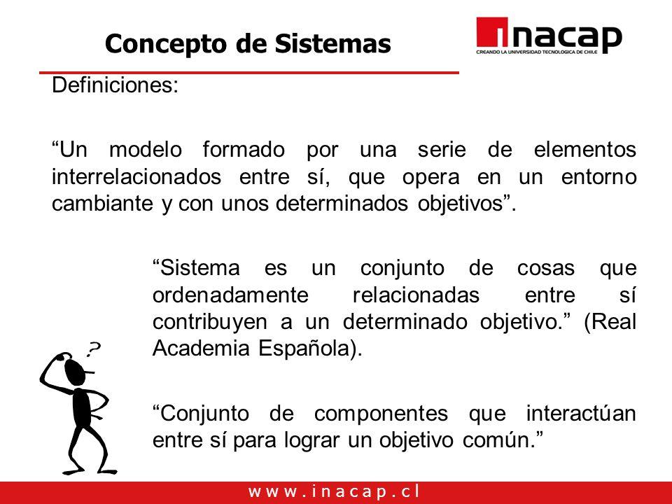 Concepto de Sistemas Definiciones: