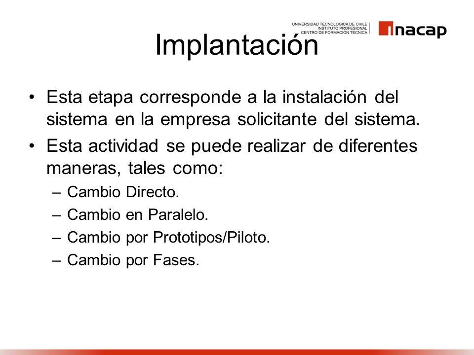 ImplantaciónEsta etapa corresponde a la instalación del sistema en la empresa solicitante del sistema.