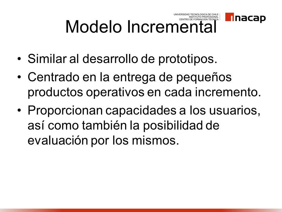 Modelo Incremental Similar al desarrollo de prototipos.
