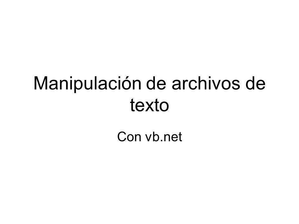 Manipulación de archivos de texto