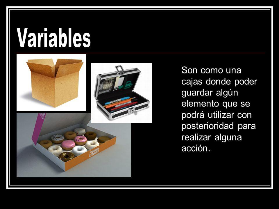 VariablesSon como una cajas donde poder guardar algún elemento que se podrá utilizar con posterioridad para realizar alguna acción.