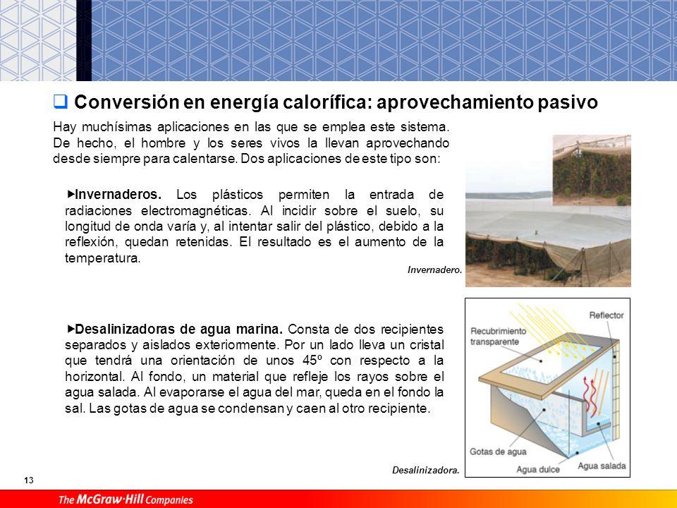 Conversión en energía calorífica: aprovechamiento pasivo
