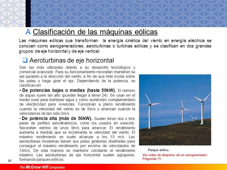 A Clasificación de las máquinas eólicas