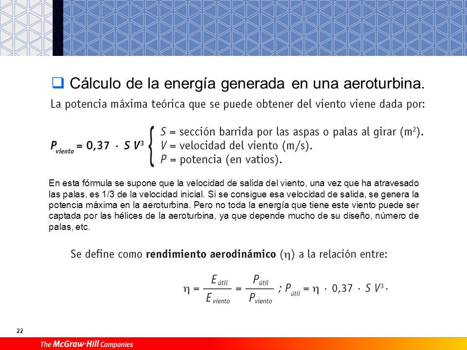 Cálculo de la energía generada en una aeroturbina.