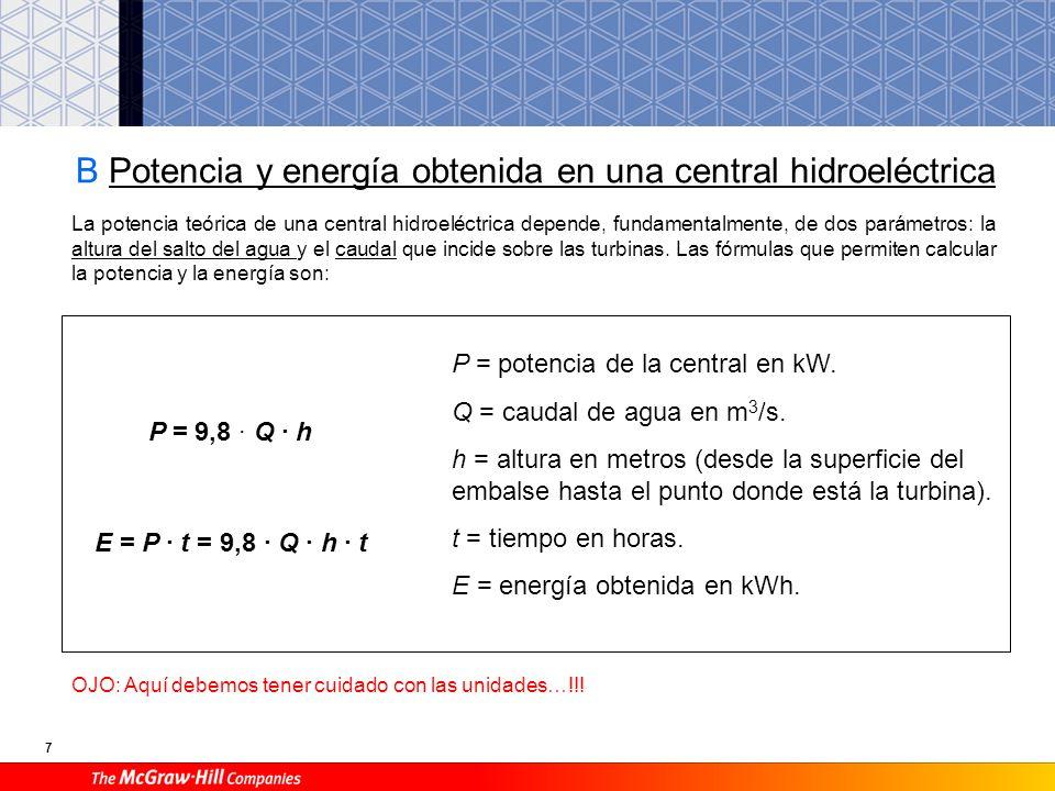 B Potencia y energía obtenida en una central hidroeléctrica